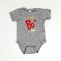 Gray baby onesie with Conceived at Bo Time logo - Front View