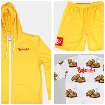 Brunch ensemble white tee with biscuit tee with all over biscuit print and red Bojangles logo on left chest