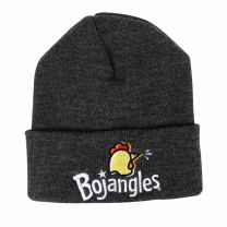 Gray Beanie with Chicken Head and White Bojangles logo on the Cuff - Front View