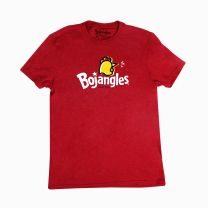 Red Bojangles T-Shirt with centered chicken design and white Bojangles logo - Front View
