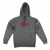 Gray Bojangles Hoodie with red centered Bojangles logo, drawstring hood and open front pocket - Front View