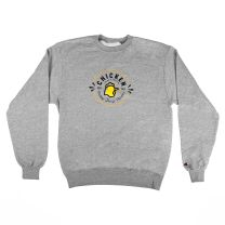 "Gray Sweatshirt with Centered Bojangles ""Chicken Seal""  - Front View"