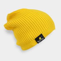 Yellow knit beanie with the black Bojangles Chicken Label - Side View