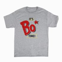 Gray Bojangles T-Shirt with It's Bo Time logo in the center - Front View